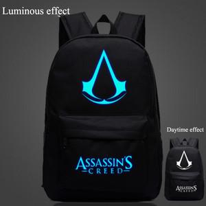 Al por mayor- Bolsas de brillo de Assassin's Creed Mochila de impresión luminosa Bolsas para mochilas de portátil de la vendimia Bolsas de escuela para mujer Bolso de escuela femenino X382