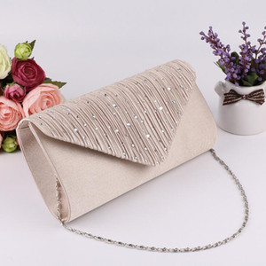 High Quality Cheap Women Satin Evening Bags Crystal Beads Bridal Hand Bags Clutch Box Handbags Wedding Clutch Purse for Women