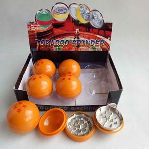 Neueste 3 Schichten DRAGONBALL DRAGON BALL Herb Grinder Metall Zink Legierung Rauch Tabak Rauchen 55mm mit Display Box für Glas Bong Wasserleitung