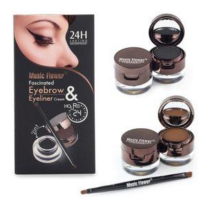 Kahverengi + Siyah Jel Eyeliner Kaş Toz Makyaj Seti Kiti Su Geçirmez Uzun Ömürlü Göz Astar Göz Kaş Kozmetik