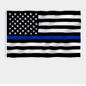 USA Police Flags 3 * 5 Fuß Dünne Blaue Linie USA Flagge Schwarz Weiß Und Blau Amerikanische Flagge Mit Messing Ösen Banner Flags