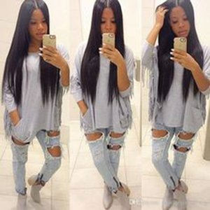 Long silky straight natural wig Simulation human hair long silky straight full wig for black women in stock