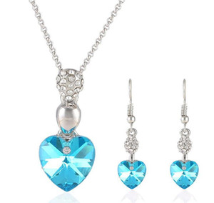 Crystal Love Heart Pendant Earrings Necklace Set Wedding Jewelry Silver Plated Chain Heart Necklace Charm Earring Set Bridesmaid Jewelry