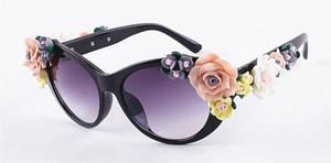 2017 Benzersiz Tasarım KEDI GÖZ Çiçek Güneş Kadınlar Marka moda gözlük kadın yaz Plaj oval güller gözlük óculos de sol