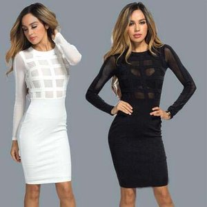 Spring Newest Hot Selling Pure Color Slim O-neck Bandage Dress Sexy Party Skirt Elegance Formal Dress
