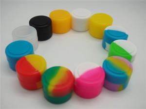 비 스틱 오일 슬릭 실리콘 항아리 둥근 모양 2ml DAB 왁스 기화기 오일 실리콘 컨테이너 저장 용기 모듬 된 색 도구