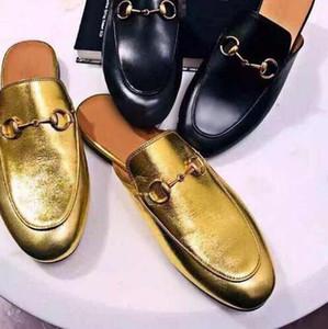 Натуральная кожа Марка женщины тапочки золото черный цепи крышка toe дамы мокасины обувь Мода Марка высокое качество горячий продавать