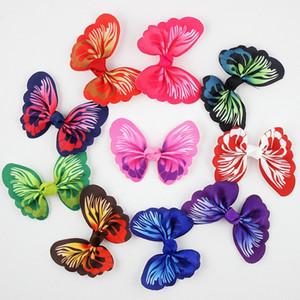 50pcs / lot neue Mädchen-Schmetterlings-Haar-Bogen-Band-Haar-Clips Spangen Kind-Mädchen Feiertags- Geschenk für Kinder Haarschmuck