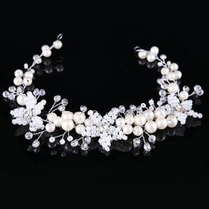 New Good Quality Noiva Artesanal Pérola Flor Headbands Mulheres Acessórios Para o Cabelo Elegante Tiara de Cristal Vestidos de Casamento Hair Jewelry Hair Band