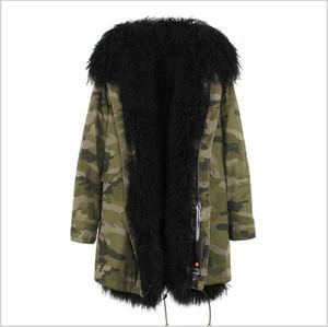 Мода Jazzevar черный Монголия овец меха подкладке камуфляж оболочки длинные парка теплые пальто с YKK молнии длинные куртки