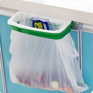 Mais recente moda lixo saco de lixo rack anexar titular / sobre armário armário porta cozinha suprimentos (cor: verde)