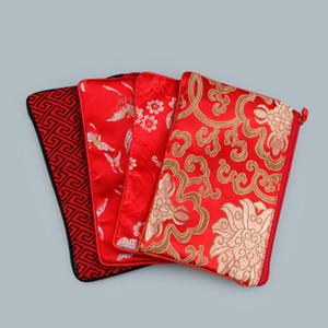 Rectángulo chino brocado de seda bolsa con cremallera monedero viaje de maquillaje joyería bolsa de almacenamiento de la borla de embalaje de regalo bolsa de la carpeta del teléfono 2pcs / lot