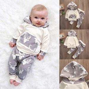 Güz sonbahar Yenidoğan Erkek Bebek Kız Elbise Sevimli Noel Tops Geyik Kapşonlu + Çizgili Uzun Pantolon 2 adet Kıyafet Çocuklar giyim Set