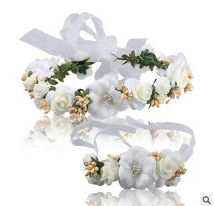 Niños guirnaldas guirnaldas novia tienda de venta de joyería llevando flores tocado pulsera fotografía accesorios para el cabello playa del mar de las guirnaldas T1807
