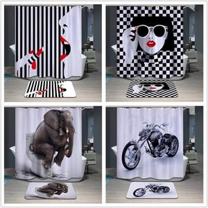 Impresión de Nueva 3D cortinas de ducha 180x180cm elefante Impreso de poliéster impermeable cortina de ducha del cuarto de baño de reparto Cortinas IA022