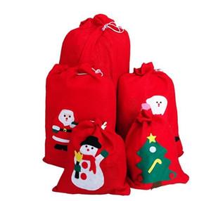 Çocuklar Çocuklar İçin Merry Christmas Dekorasyon Noel Baba Çocuk Şeker Çanta Ev Partisi Dekoru Hediye Çuval İpli Depolama 4 Boyutları