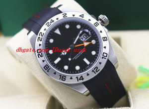 Top Qualidade De Luxo Relógio De Pulso De Borracha Pulseira II 40mm 216570 Polar Preto Inoxidável Assista -MINT Mecânico Automático Homens Relógios