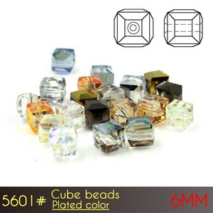 6mm Cube Beads Plated color A5601 100pcs set czech glass loose beads for latest design beads necklace