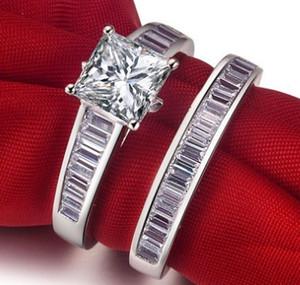 ForeverBeauty 1CT Princess Cut Diamond Ring Imposta per le coppie con 925 argento placcato donne dell'oro bianco Anelli di fidanzamento Anelli femminili
