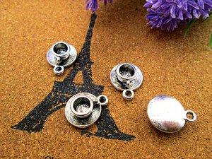 30pcs - Teetasse Charms, Antike tibetische silberne Teetasse Charms Anhänger 19x15mm