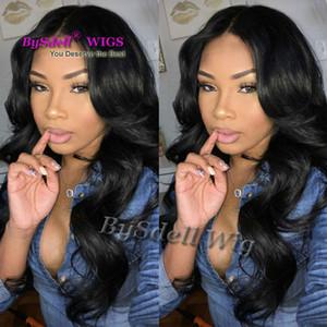 Горячие продажи синтетических волос струи черного тела волна парик Glueless средней части нет парик кружева/ кружева фронт синтетические парики для женщин бесплатно hairnet