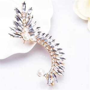 Mulheres Jóias Rhinestone Pérola Brincos Folha Forma exagerada Ear Cuff White Pearl Meninas Street Style Ear Cuffs Presente de Natal Brincos