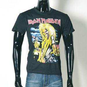 Halloween Moda streetwear Iron Maiden Death Skeleton hombres camiseta 3d negro Skull ropa de manga corta camiseta o cuello Tops BMTX30 F