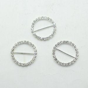 Fabrik-Preis 100pcs DIA 25mm Rhinestone-Schnalle rund für Hochzeitseinladungen Ribbon Sliders DIY