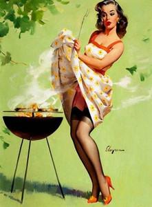 Gerahmte GIL elvgren BBQ Rauch, Reines handgemaltes Pinup-Mädchen-Kunst-Ölgemälde auf Leinwand Qualität Multi Größen-freies Verschiffen Pin021