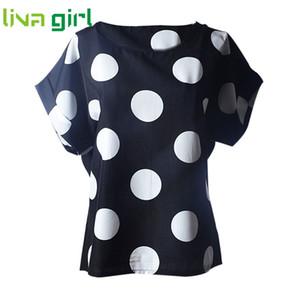 Großhandels- 2017 Sommer T-Shirt Frauen beiläufige Dame Top Tees Femme Chiffon T-Shirt weibliche Kleidung T Shirt Frauen Punkte Print Tops Cute Tee Ja062