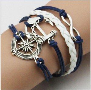 Braccialetti di cuoio dei monili di modo del braccialetto di fascino dei braccialetti di fascino dell'annata Retro cuori di fascino svegli di cuoio di fascino dell'anello di amore