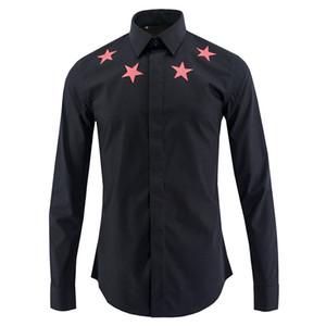 Wholesale-  Star Printed Men Shirt Chemise Homme  Fashion 2017 Long Sleeve Shirt Men Turn Down Collar Slim Cotton Mens Shirts