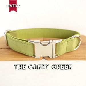 MUTTCO im Einzelhandel selbst designter handgemachter Hundehalsband THE CANDY GREEN gelblich grüner Kragen Poly Satin und Nylon Hundehalsband Leine 5Größen UDC030