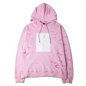 Moda Stil Pembe Renkli Man Hoodie Delik Kapşonlu Gevşek Streetwear Moda Çift Giyim Casual Unisex Kazak Ripped