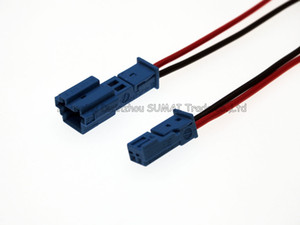 Good quality blue Car Speaker plug,Auto stereo plug,Car lamp connector with 10cm cable for BMW X1 X5 car ect.Black and red cable