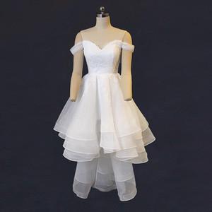 Robe de mariée à volants en organza à volants surélevés Plage Nouveau Robes de mariée à épaules dénudées