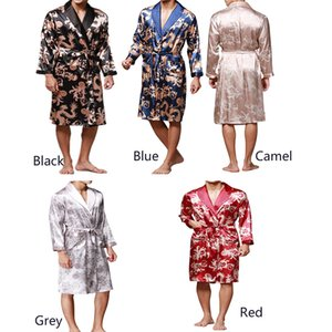 Men Shawl Collar Kimono Dragon Print Satin Robe bathrobe sleepwear  Pajama