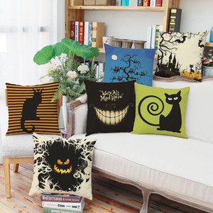 Linen Halloween Theme Pillow Case Pillowcase without core, 18 × 18 In Cushion Cover Home or Office Sofa Decoration 6 Styles
