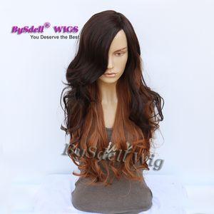 Doğal Iki Ton Mix Renk Peruk Koyu Kahverengi Ombre Kırmızı Brwon Siyah Kadınlar için uzun Dalgalı Kıvırcık Kesim Saç Afrika Amerikan Peruk