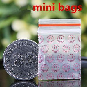 Kırmızı Gülümseme Mini Minyatür Zip Kilit Kavrama Plastik Ambalaj Torbaları Gıda Şeker Takı Açılıp Kapanabilir Kalın PE Kendinden Sızdırmazlık Küçük Paket Depolama hediye
