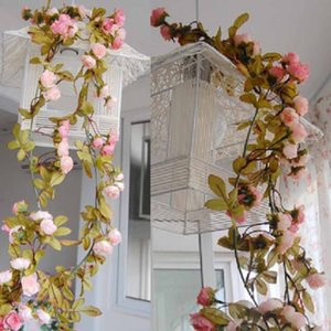 Wholesale- 2.2M Artificial Silk ROSE Fake Flower Fall Yellow Leaf Hanging Garland Plants Party Home Wedding Garden Floral Decoration