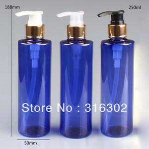 Envío gratis - botella azul de DIY 250ml con la bomba de lanzamiento de aluminio del oro, botella del champú del animal doméstico 250ML