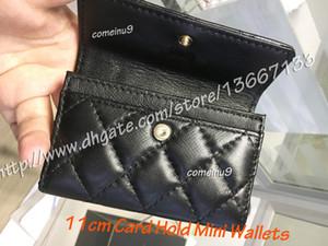 2018 Portatarjetas de la manera de las mujeres de cuero genuino de piel de cordero solapa acolchada Mini carteras Femenino Monederos Titular de la tarjeta de la bolsa de la moneda W Box Comeinu9
