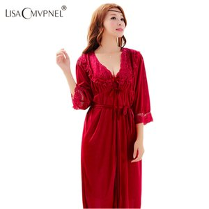 Venta al por mayor - Lisacmvpnel Ice Silk Sexy 2 piezas para mujer Juego de mujeres Twinset Cardigan Robe de seda larga correa de espagueti camisón Envío gratis