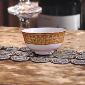 """Porselen kase kemik çini """"H"""" işareti mozaik tasarım anahat altın yuvarlak şekli 4.5 """"kase 4.5"""" pirinç kase maç kullanmak için küçük kaşık"""