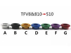 810 bis 510 Adapter TFV8 zu 510 Adapter Mundstück Für SMOK TFV8 Wolke Beast Tankzerstäuber E Zigarette Aluminium Tropfspitzen Stecker 7 Farben