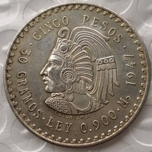 Uncirculated 1947 o 1948 Mexico 5 Pesos Silver Foreign Copy Coins Ornamenti artigianali in ottone di alta qualità