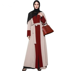 Müslüman Orta Doğu Malezya Kontrast Renk kırmızı kahverengi Hırka Dikiş Maxi Uzun Kollu Elbise için kadın Zarif Ulusal Constume