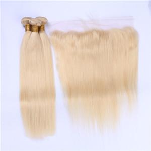 El cabello humano rubio brasileño teje con frontal puro # 613 Color rubio sedoso recto 13x4 cierre frontal de encaje completo con 3 paquetes de 4 piezas