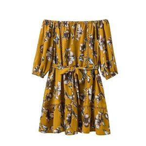 Kısa Elbiseler Sarısı S m l dışarı Omuz Elbise Kayışlı Yeni Kadınlar Elastik Slash boyun Eklenmiş Hollow Kapalı 2017 Etnik Çiçek Baskı